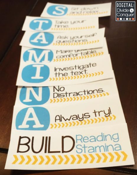 Building reading stamina is a huge key for students.  Use this acronym and poster set so kids can remember practice strategies for success.