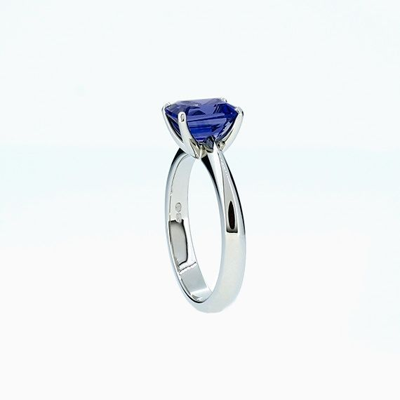 Solitaire Ring with Emerald Cut Blue Sapphire in Platinum
