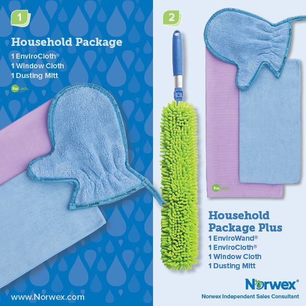 Norwex (1) Household Package, (2) Household Package Plus. For Facebook parties, online events and marketing.