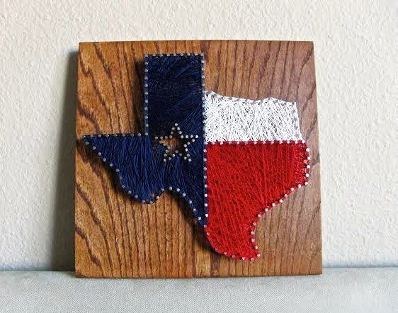12x12 State of Texas with Texan Flag Fill String by HookandNail