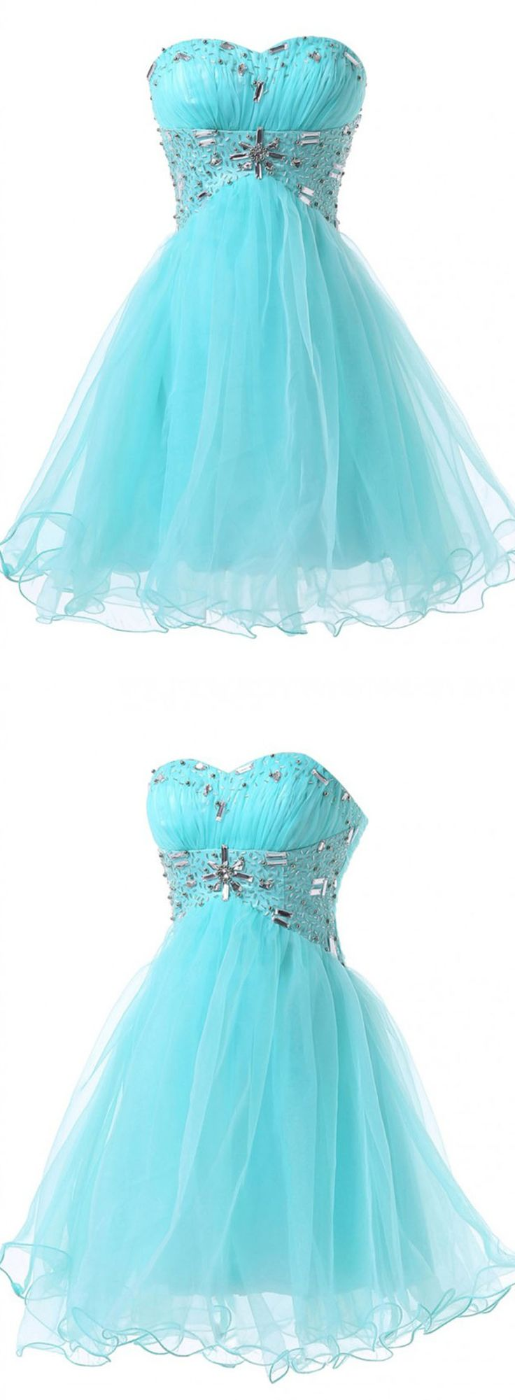 Modern Sweetheart Beading A-line Blue Short Prom Dresses Homecoming Dress