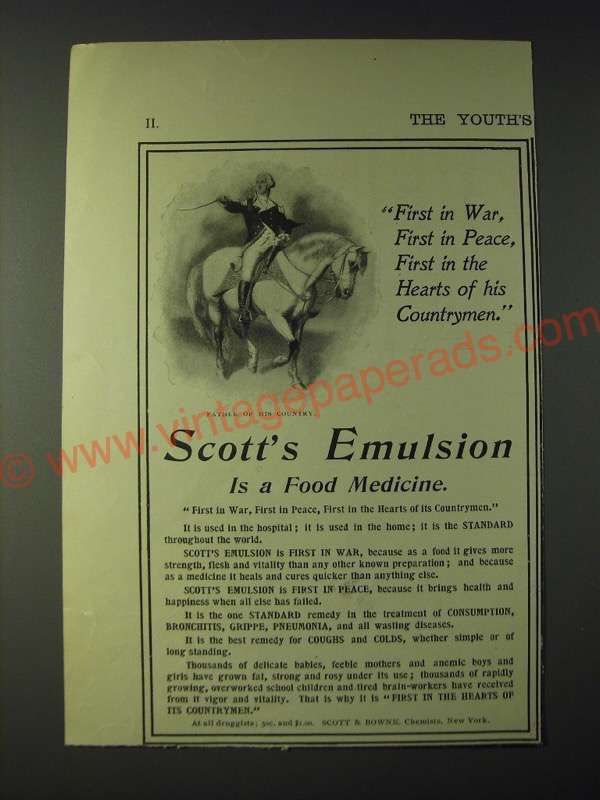 1900 Scott's Emulsion Ad - First in War, First in peace, first in the hearts