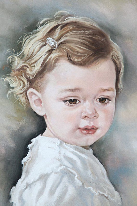 Custom Pastel Portrait Of A Baby Girl Baby Portrait Pastel