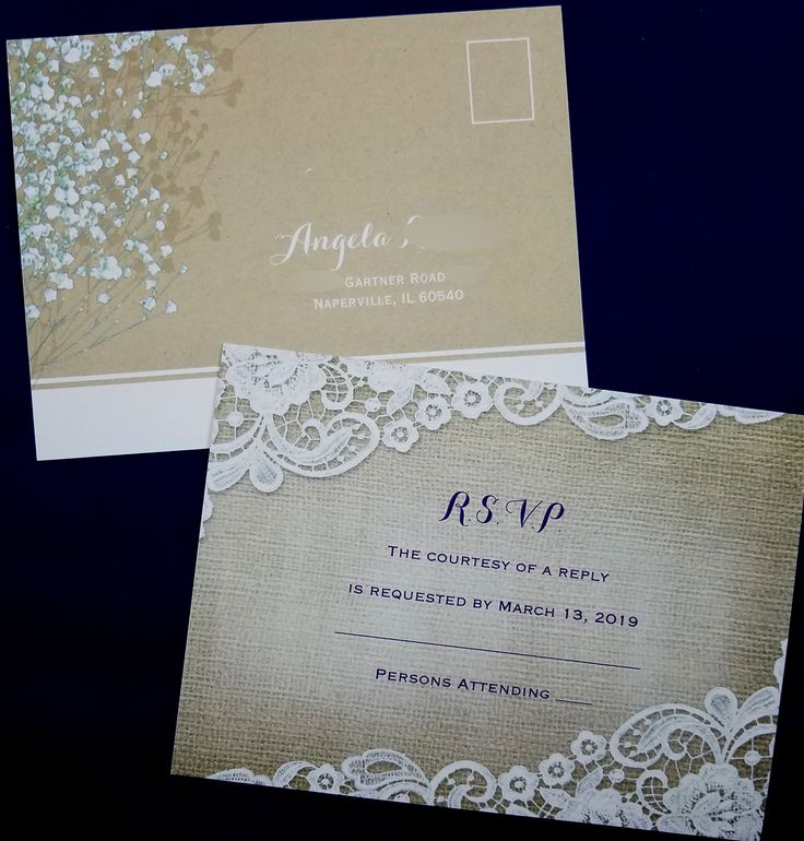 size of response cards for wedding invitations%0A White lace  brown burlap  rsvp