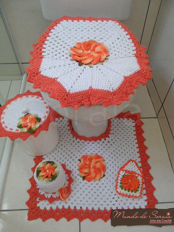 Jogo de Banheiro Mega Flor - Laranja
