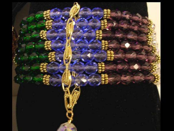 Wide Ethereal Chakra Glass Faceted 7 strand Bracelet
