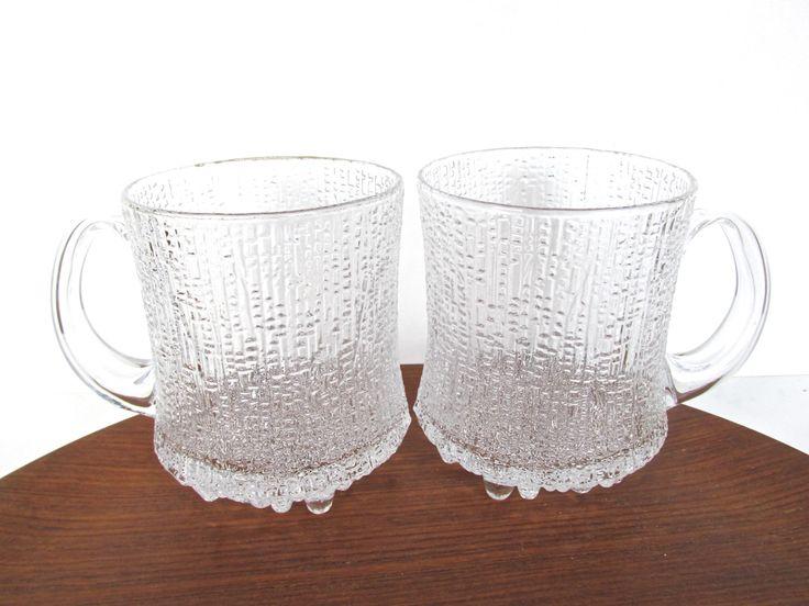 set of 2 iittala ultima thule large tankard mugs tapio wirkkala glass beer mugs textured icy glass barware - Glass Beer Mugs