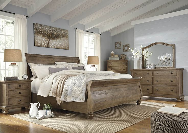Trishley Light Brown Queen Sleigh Bed w/Dresser and Mirror,Signature Design by Ashley