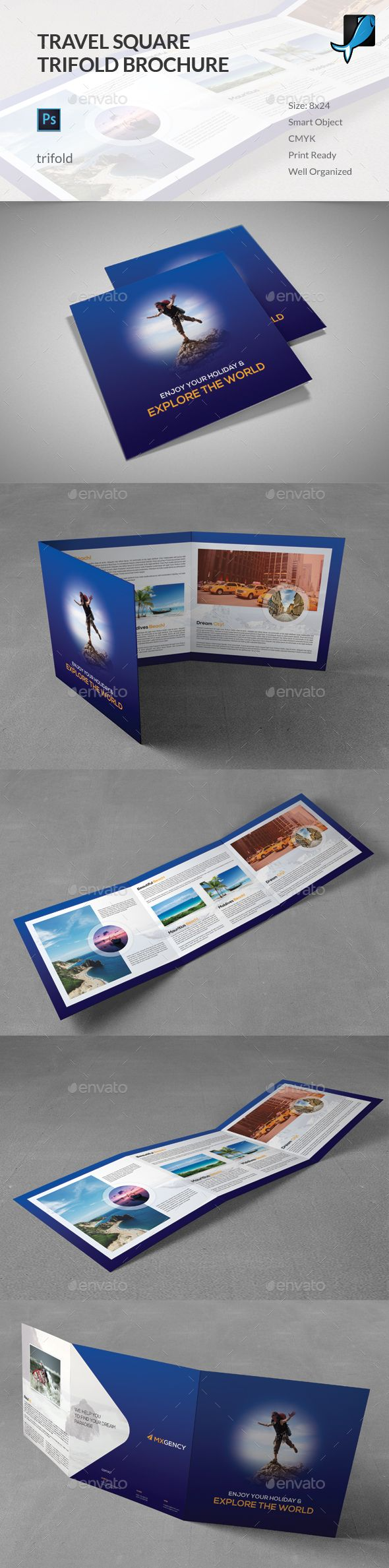 Travel Square Trifold Brochure Template PSD. Download here: http://graphicriver.net/item/travel-square-trifold-brochure/15808556?ref=ksioks
