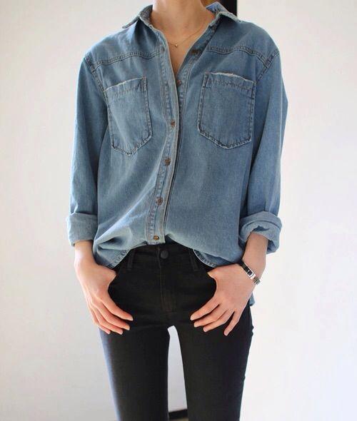 Denim shirt. Black jeans.