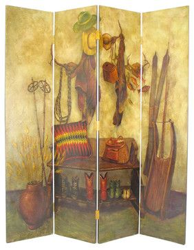 Wayborn Hand Painted The Cowboy Room Divider - rustic - Wayborn hand painted screens start with a cedar plywood frame covered in a cheesecloth material. Then layer after layer of plaster is applied; each layer must dry before another layer can be applied. After all the plaster has been applied several coats of lacquer is put over the entire surface. At that time the artist begins to sketch out the painting directly on the panels of the screen.
