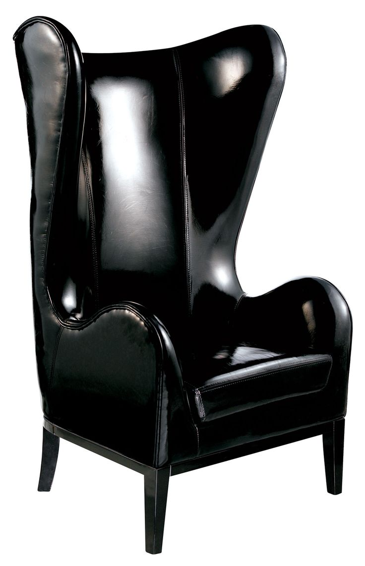 Black chair and white chair - Classical High Back Smoking Chair In Black Patent Leather