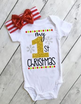my first christmas outfits for babies  my first christmas onesie for baby girl  christmas outfit my first christmas 1st christmas shirt