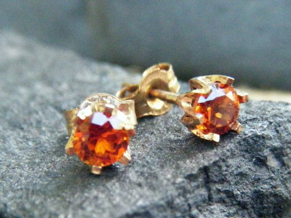 Sunset orange citrine gemstone earrings citrine by ExquisiteGem