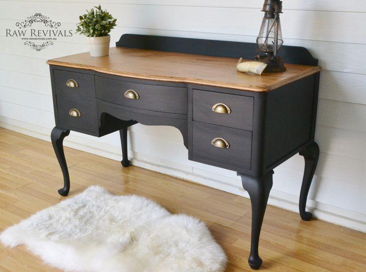 Black and timber dressing table or desk. upcycled furniture furniture DIY www.rawrevivals.com.au