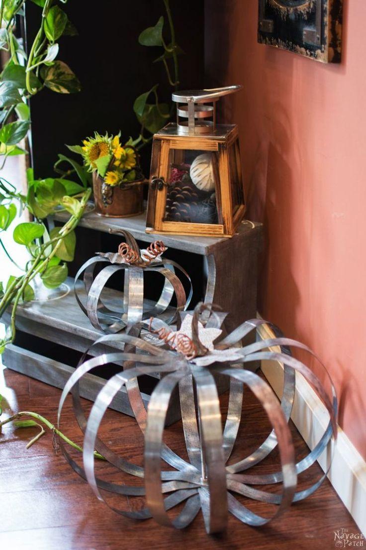 Pottery Barn Inspired Outdoor Metal Pumpkins | DIY fall pumpkin decor | Pottery Barn Knockoff | Step-by-step galvanized metal pumpkin tutorial | Fall pumpkin decorations | Farmhouse style decoration | TheNavagePatch.com