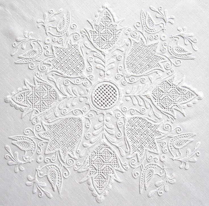 Today Schwalm Whitework is represented in many diverse ways. Alexandra Thielmann, Thekla Gombert, Anneliese Grein, Leni Klingelhöfer, Maria Jung, Irmgard Mengel as well as Luzine Happel are names associated with different styles. The designs of Maria Jung are full of verve and tendrils are predominate. Birds are extra nice in this design, http://www.luzine-happel.de/?page_id=246=en