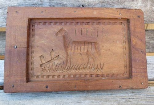 Antique Springerle Cookie Mold Two Sided Horse & Hunt Motif Oak Leaves Decor