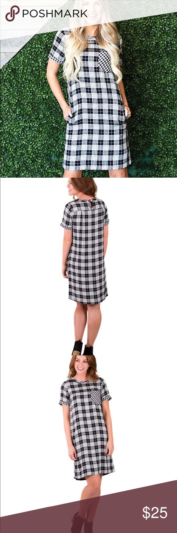 Downeast Check Up Dress Like new, black and white checkered dress, knee length, size small Downeast Dresses Midi