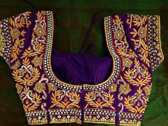 Violet gold intricate work sari blouse by Sravams on Etsy