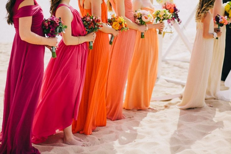 ombre rainbow bridesmaid dresses