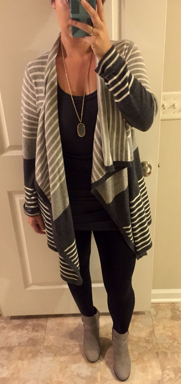 Love my Stitch Fix cardigans with leggings and my Cole Haan booties.