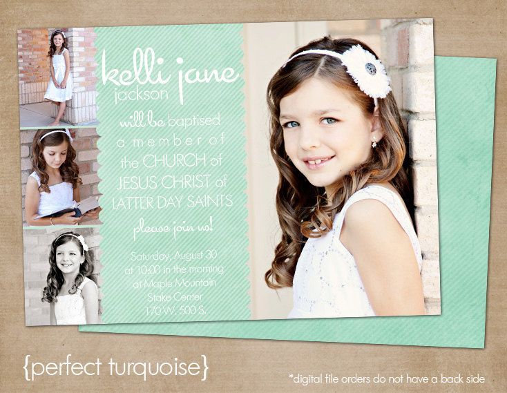 "LDS Baptism Photo Invitation (Digital or Printed)- ""perfect turquoise"""