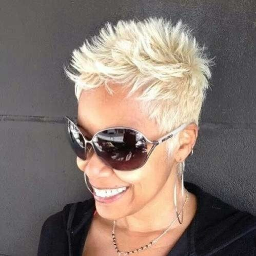 Simple Short Spiky Blonde Haircut For Black Women Spiky Short Haircuts Short Spiky Haircuts Short Spiky Hairstyles Short Hair Styles Pixie