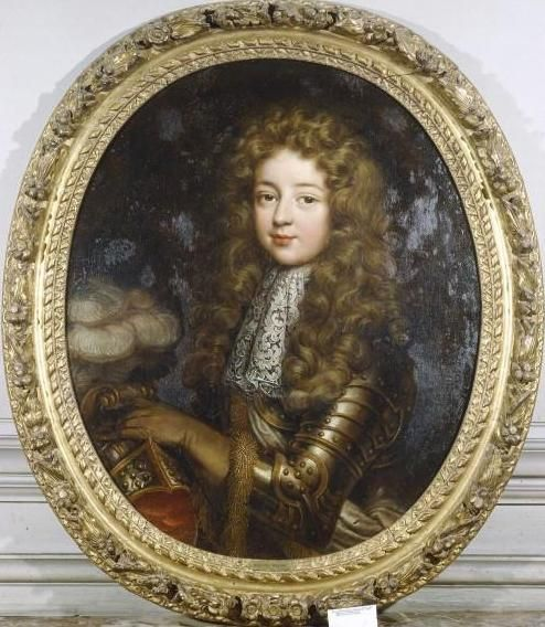 Louis-Auguste de Bourbon, duc du Maine (1670-1736) was a legitimised son of Louis XIV and Madame de Montespan but was under the patronage of m-me Maintenon.Louis's favorite son he was the founder of the semi-royal House of Bourbon-Maine.He was married in 1692,his guest of honour was the exiled James II of England.though the marriage was unhappy he got 3 children.He was recognized as a probable successor of Louis if there would be no other heirs.Organized a plot to get power and was exiled.
