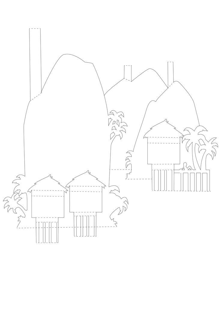 Рисунки, шаблон открытка домик