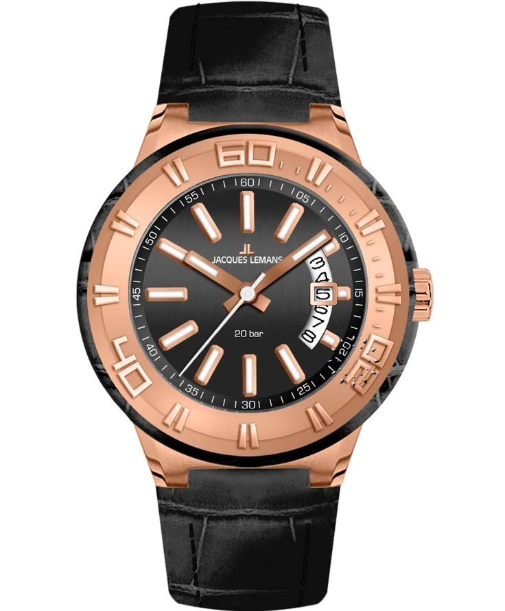 Jacques LEMANS Rose Gold Miami Sport Black Leather Strap Μοντέλο: 1-1770G Η τιμή μας: 134€ http://www.oroloi.gr/product_info.php?products_id=33848