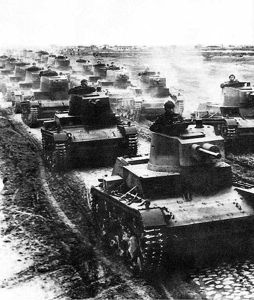 Polish 7TP light tanks in formation during the first days of the 1939 Defensive War