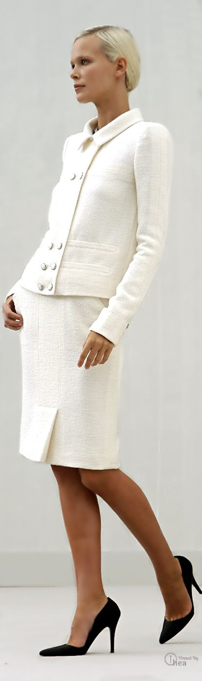Classic White Suit from Chanel ... every woman needs a suit in her wardrobe. Make it Chanel !