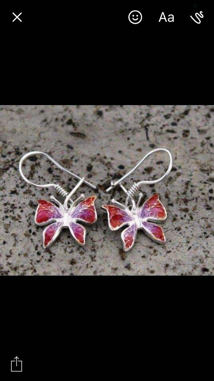 """Серьги """"Бабочки"""" серебро с эмалью. Ручная работа. Посмотреть подробно можно в Instagram @jeweleryfromgeorgia"""