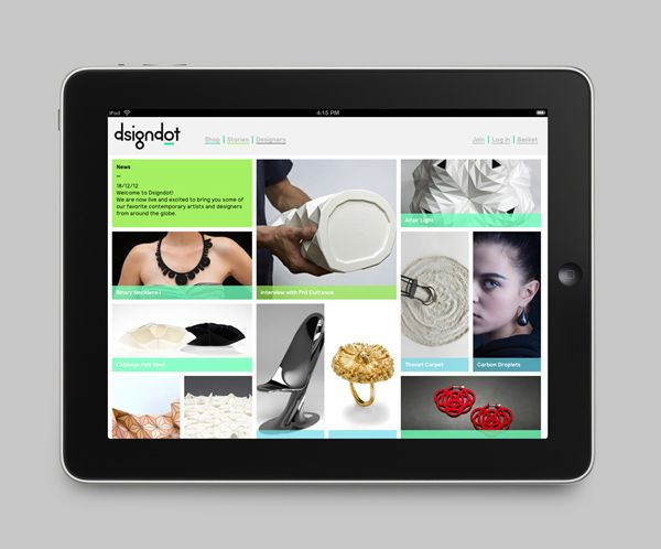 Mobile website designed by Build for on-line furniture, fashion and jewellery store Dsigndot.