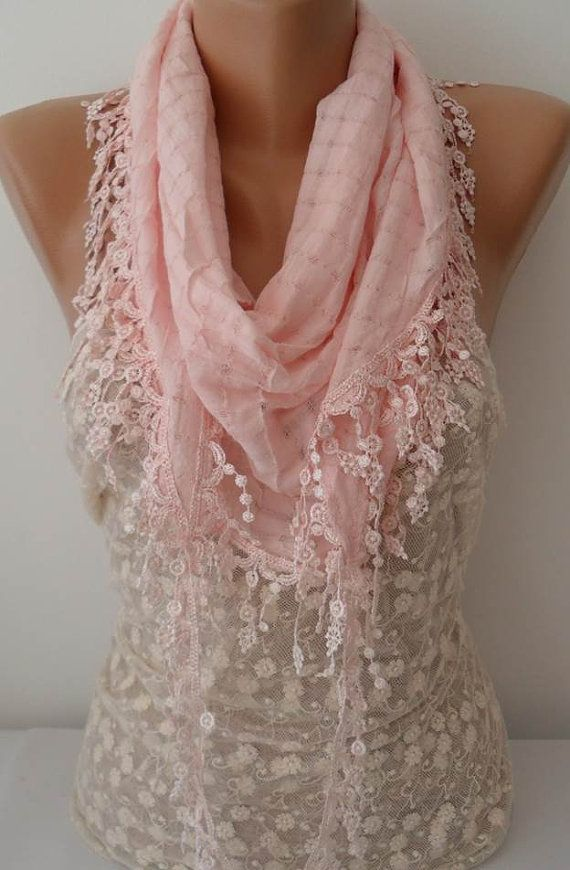 ON SALE Pink Cotton Scarf Cowl Scarf Womens by JasmineAccessory, $15.90