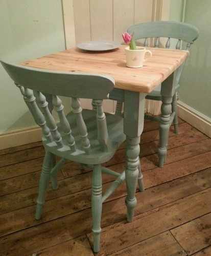 Farmhouse Pine Breakfast Table for 2 including 2 Chairs, painted in Autentico 'Summer Sky' https://www.facebook.com/maisieshousevintage#!/media/set/?set=a.580874125257591.1073741828.477348078943530=3 £195