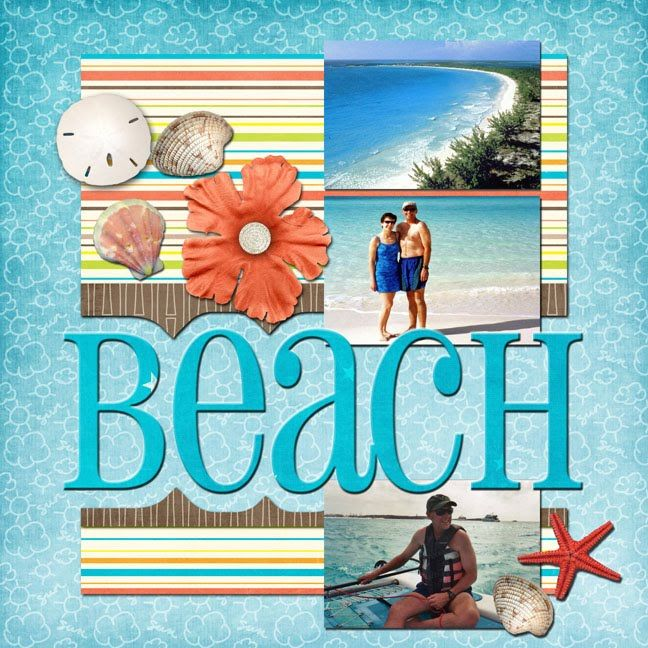 "Ideas for Scrapbookers: New ""Beach"" Template. Could easily modify this for a PL layout. Or just add a special 12x12 layout."