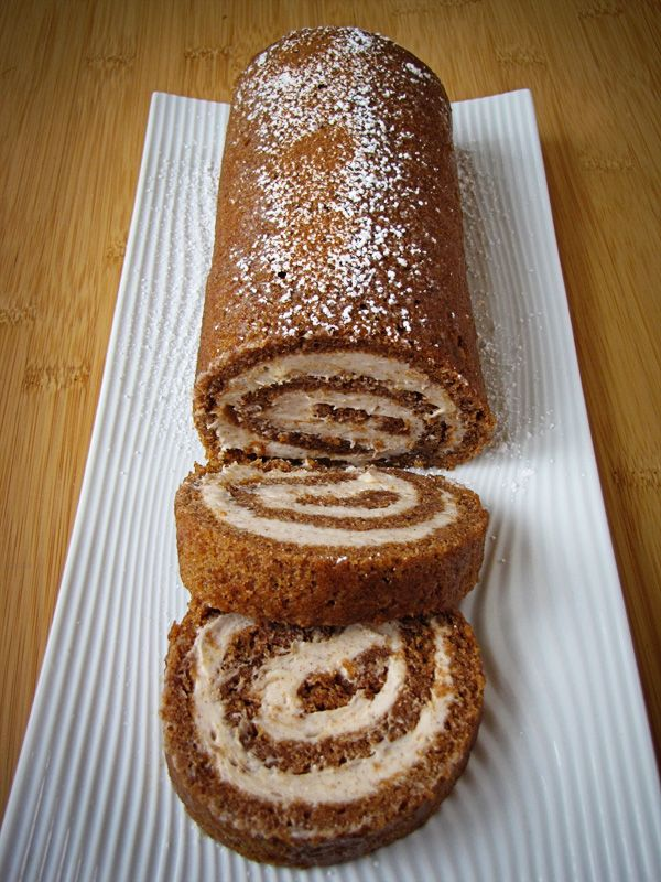 """Pumpking Roll with Cinnamon Cream Cheese Frosting. """"Cake rolls terrify me. But this one sounds so good I might have to give this a try really soon. Ask me if it turned out well. Or a gentler approach will be to ask me if my Pumpkin Cream Cheese Cake Balls turned out well, because that will be my recovery from a massive fail..."""" -Cas"""