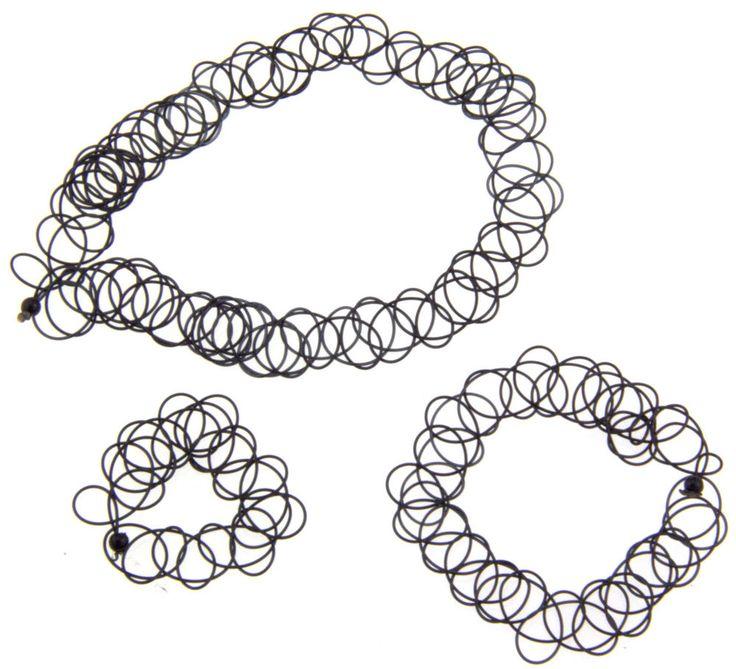12 set Stretch Tattoo Choker Necklace Bracelet Ring Gothic Punk SINGLE ...