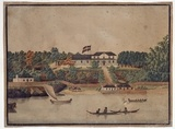 First Government House, Sydney. Watercolour drawing by John Eyre, ca. 1807.  Find more information about this image: http://acms.sl.nsw.gov.au/item/itemDetailPaged.aspx?itemID=69845  From the collection of the State Library of New South Wales: www.sl.nsw.gov.au
