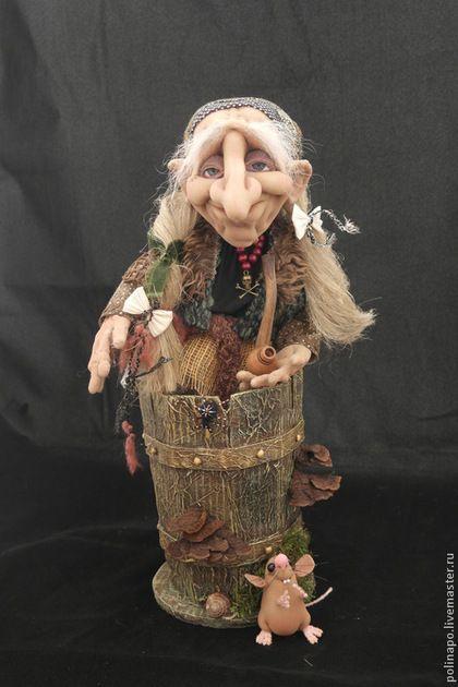 Сказочные персонажи ручной работы. Ярмарка Мастеров - ручная работа. Купить Баба-яга в ступе. Handmade. Кукла ручной работы