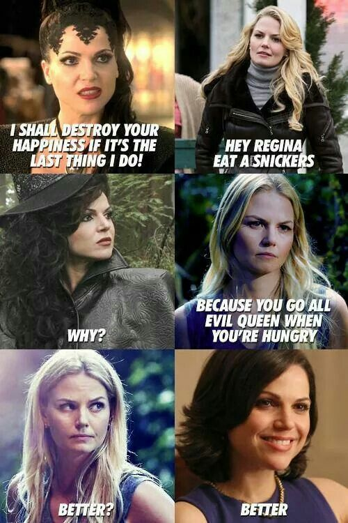 Regina needs a Snickers. And a hug. And Robin Hood back and Marian vanished forever.