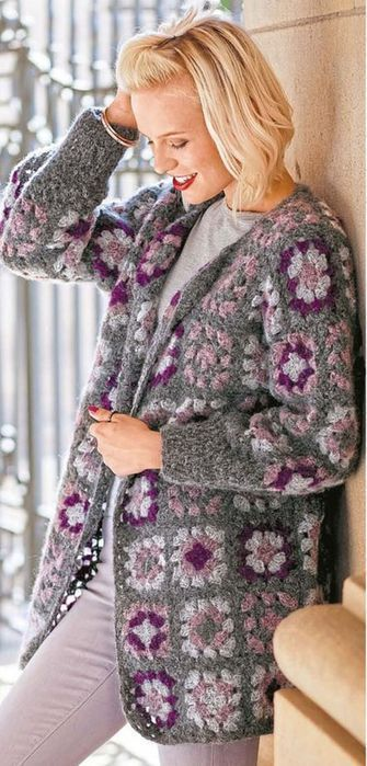 CROCHET JACKET. GRANNY SQUARE. FREE PATTERN.