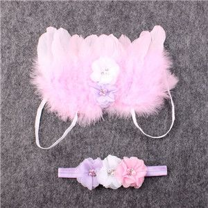 Angel feather wings baby girl flower headband hair head bands photo shoot accessories for newborns hairband Photography props