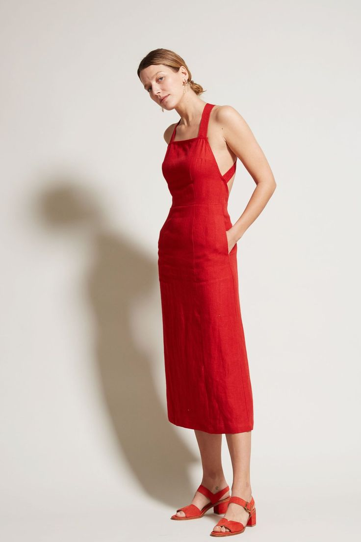 No.6 Mandy Crossback Dress in Tomato