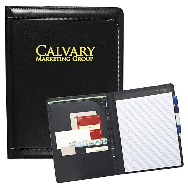 "AP4610 | McCarthy Writing Pad. This writing pad will look great during your next business event. Interior organizer with document pocket Integrated business card pockets. Pen loop. Includes a 8.5""w x 11""h writing pad. Material: Castallian Leatherette. Product Size: 9-1/4""w x 12-1/4""h x 3/4""d (closed). Product Colour: Black. Price Includes: 1-colour imprint, 1 location. For details on how to order this item with your logo branded on it contact ww.fivetwentyfour.ca"