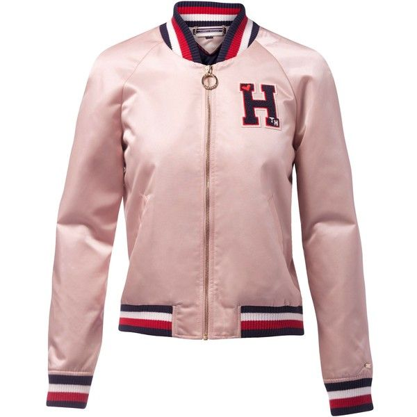 Tommy Hilfiger Bridget Varsity Jacket (€285) ❤ liked on Polyvore featuring outerwear, jackets, women coats & jackets, pink bomber jacket, college jacket, varsity jackets, summer jackets and pink biker jacket