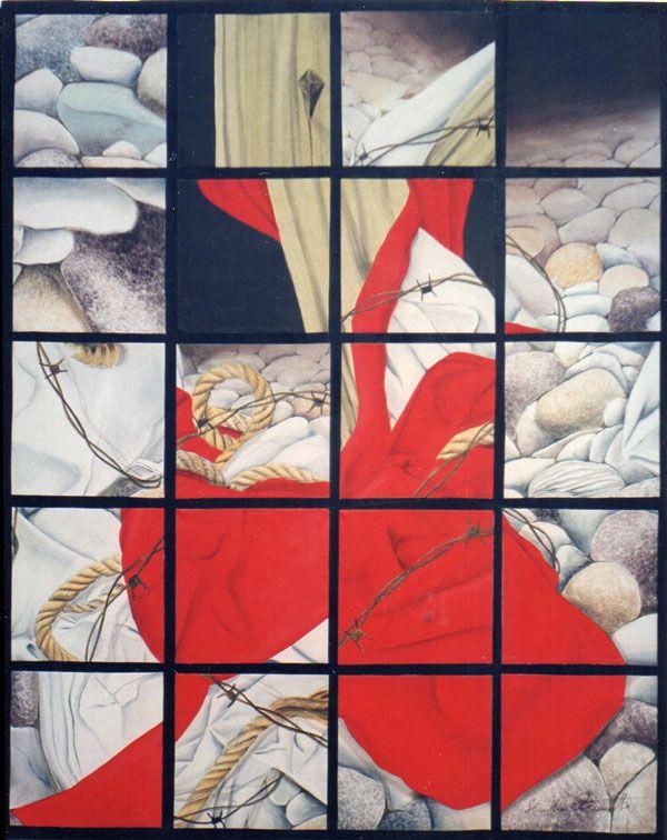 Passione di Cristo, passione dell'uomo - Polittico - olio su tela e tavola 80x100