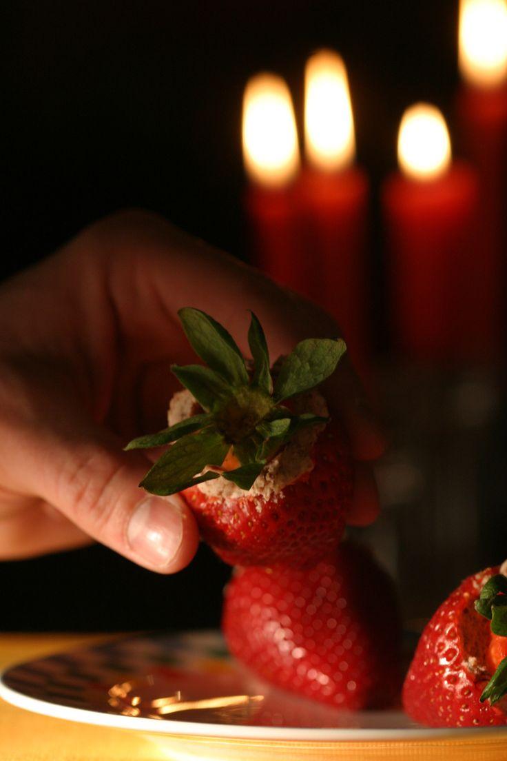 Recipe: Stuffed strawberries    Photo: Andrew Scrivani for The New York Times